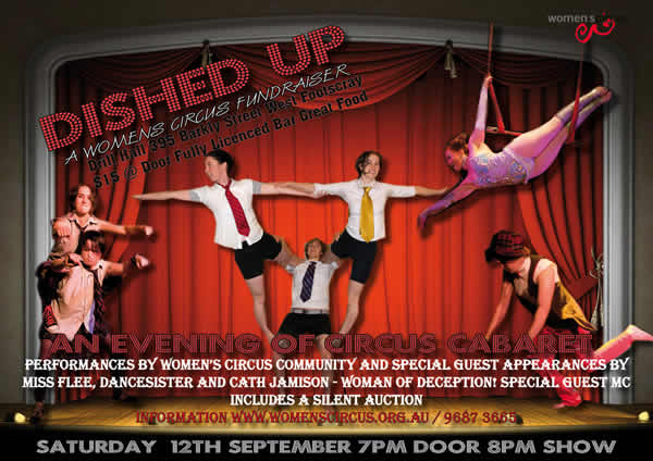 Dished Up promotional poster, with a group of people performing different circus tricks on stage.
