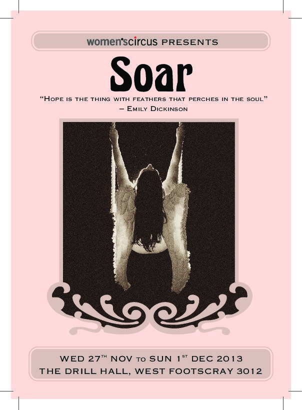 Soar promotional poster, with a woman on a swing.