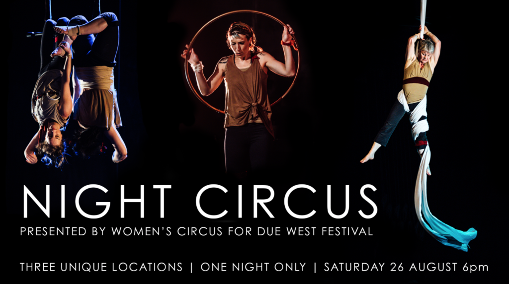 Night Circus promotional poster, with a group of people performing different circus tricks.