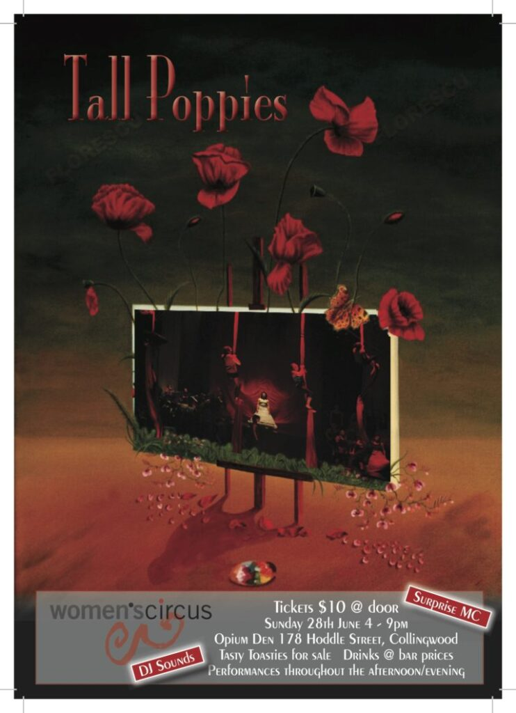 Tall Poppies promotional poster, with an image of poppies stemming from a sign.