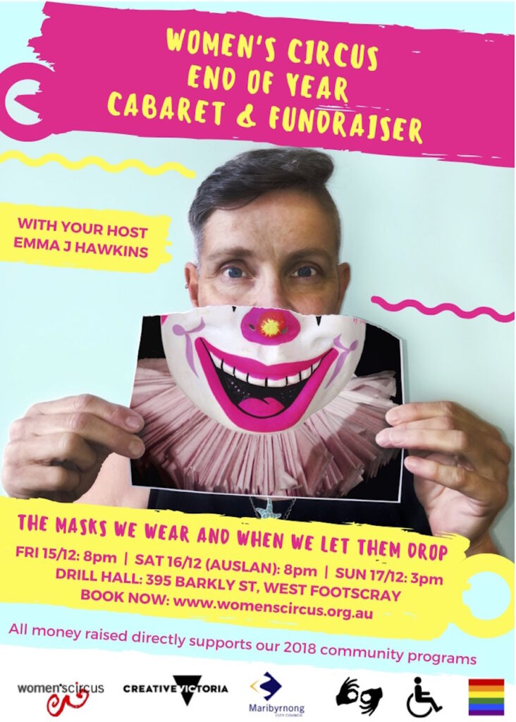 End of Year Cabaret & Fundraiser promotional poster, with a person holding up an image of a clown smiling.