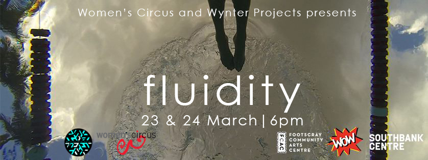 A Fluidity promotional poster, with a persons feet hovering above a pool of water.