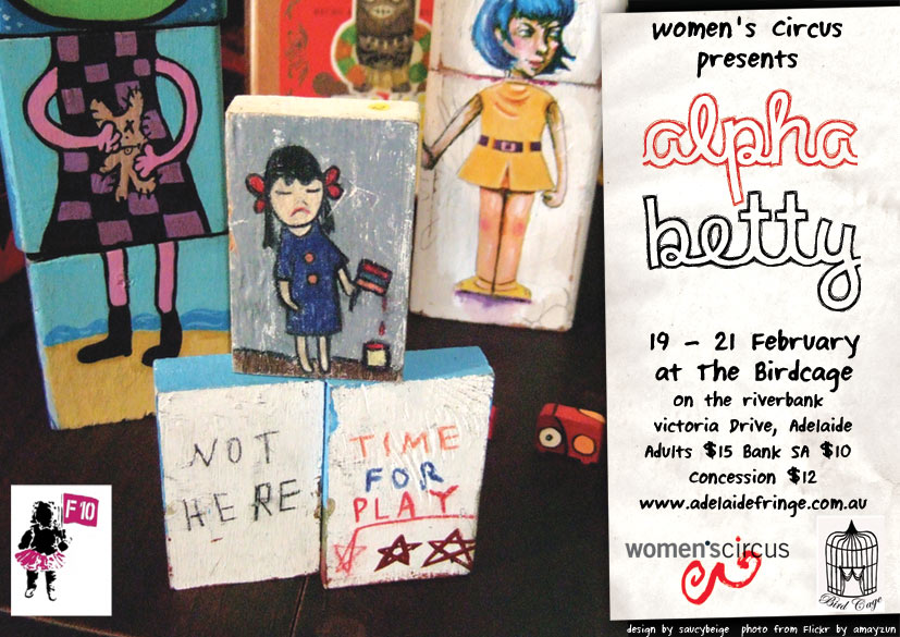 Alpha Betty promotional poster, with a number of blocks with illustrations on them.